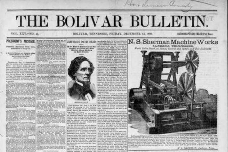 image of the frontpage of The Bolivar Bulletin newspaper of Tennessee