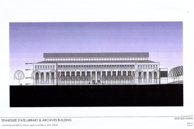 2007 plans for a new Tennessee State Library and Archives building on Bicentennial Mall
