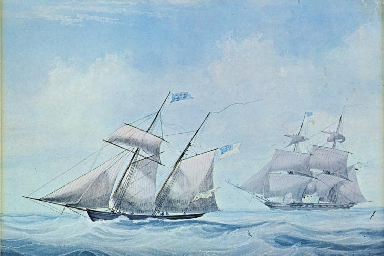 A British frigate pursuing an American schooner