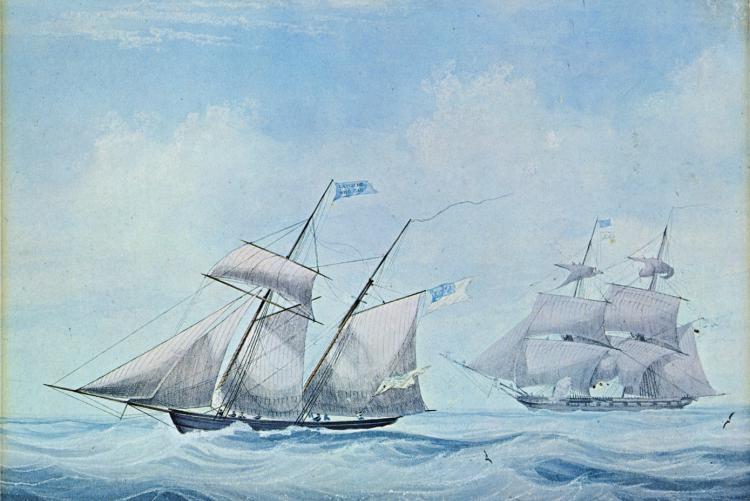 A British frigate pursuing an American schooner