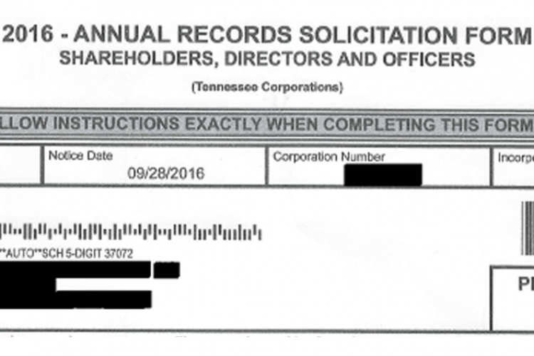 "Form that says ""2016 - Annual Records Solicitation Form. Shareholders, Directors and Officers"""