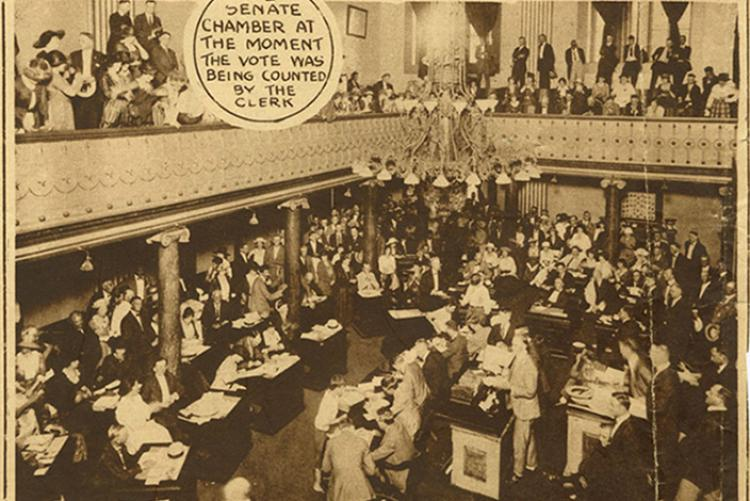 The Tennessee Senate chamber in 1920 at the moment the clerk counted the historic vote on women's suffrage.