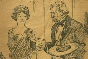 Drawing of a man with the word Tennessee on his shirt presenting a ballot box to a woman