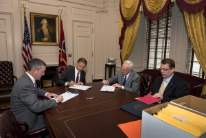 Secretary of State Tre Hargett, Gov. Bill Haslam and Attorney General Herbert Slatery certify Nov. 8 election results with Coordinator of Elections Mark Goins.