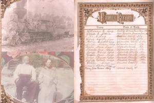 Collage showing old pictures and family records including names and places of birth