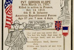 Poster honoring Pvt. Gordon Klope killed in action in France on Oct. 14, 1918