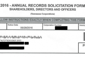 """Form that says """"2016 - Annual Records Solicitation Form. Shareholders, Directors and Officers"""""""
