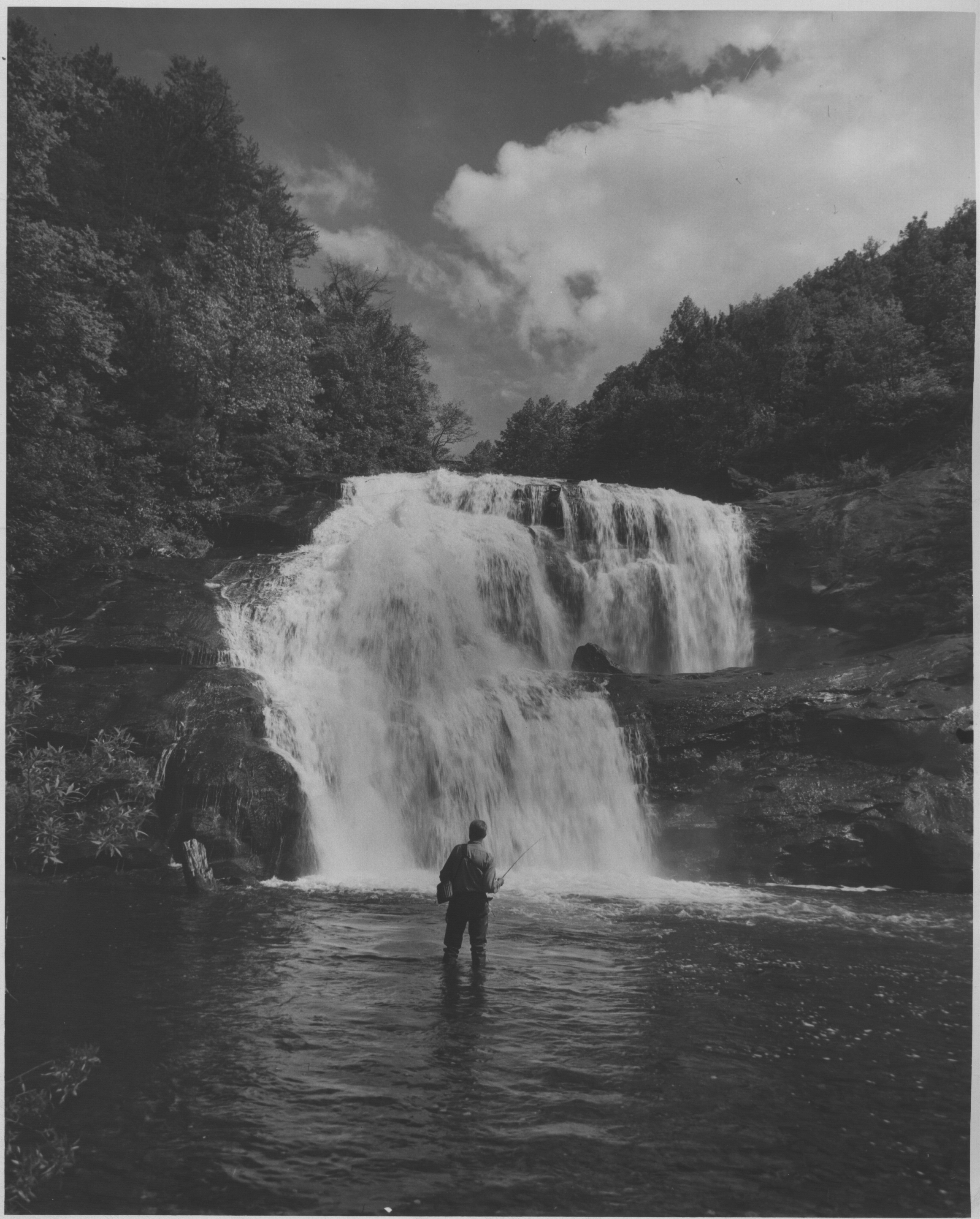 A fisherman at Bald River Falls in the Cherokee National Forest. (1947)