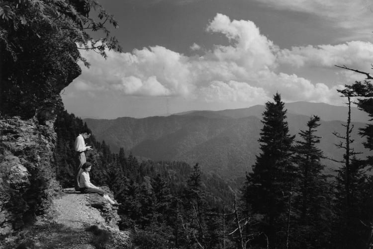 Hikers on the trail near the top of Mt. LeConte in the Great Smoky Mountains National Park. (1950)