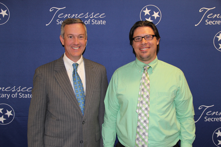 L to R: Secretary of State Tre Hargett with Brian Huber of Whitehaven High School