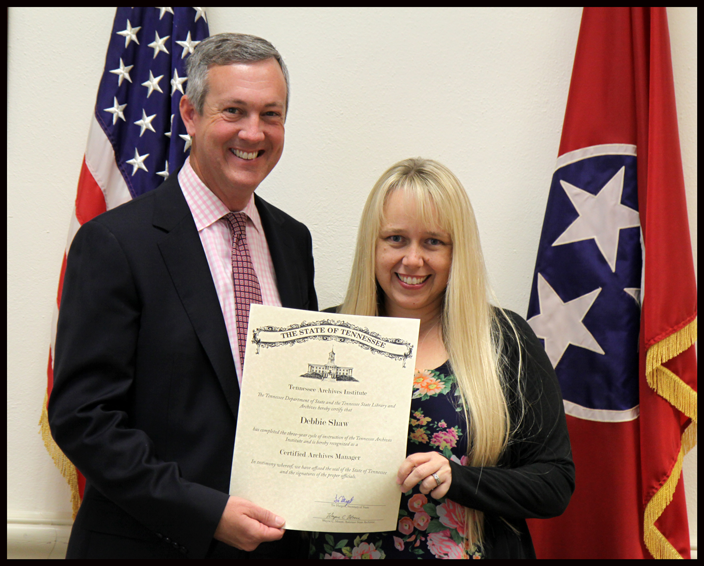 L to R: Secretary of State Tre Hargett pictured with Debbie Shaw of the Tennessee Association of Museums