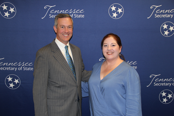 L to R: Secretary of State Tre Hargett with Kimberly Dilden of Northeast Middle School