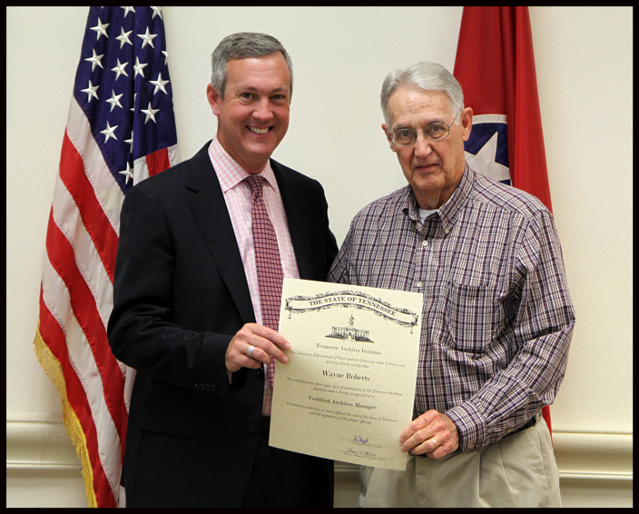 L to R: Secretary of State Tre Hargett pictured with Wayne Roberts of the Jefferson County Archives