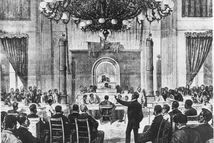depiction of chandelier after first illumination in 1855 by the Nashville True Whig newspaper