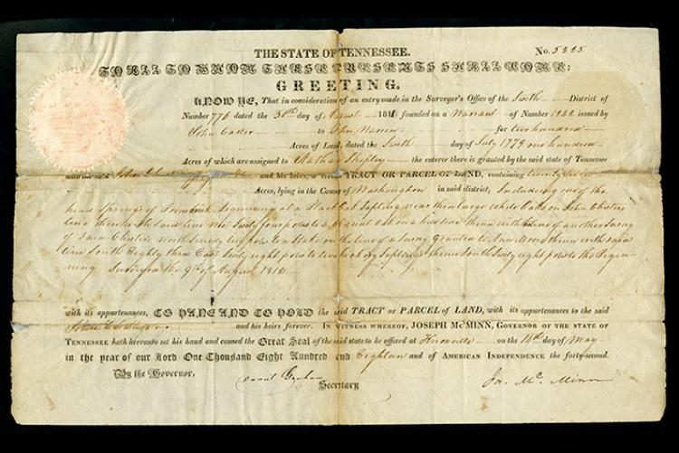 An early Tennessee land record