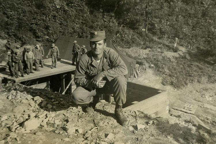 David Franklin Brock pictured in 1953 with other soldiers in the 2nd Infantry Division's 2nd Engineer Combat Battalion