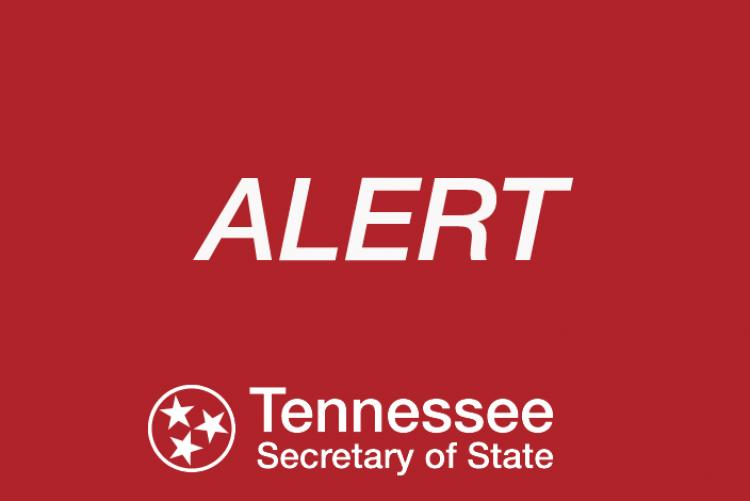 Graphic that says Alert, Tennessee Secretary of State
