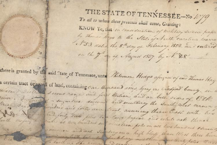 Land record signed by John Sevier, includes seal.