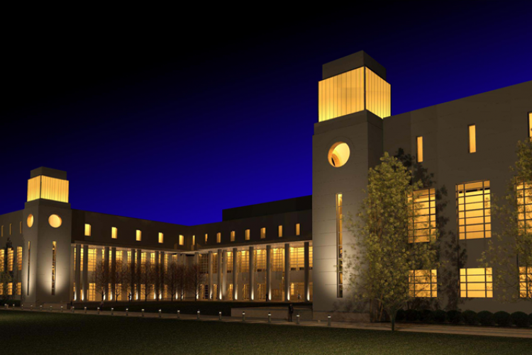 Exterior of the future Tennessee State Library and Archives at night