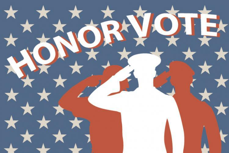 "image of three silhouetted soldiers and text saying ""Honor Vote"""