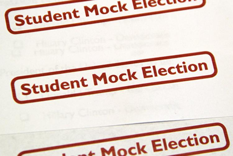"""Red stamp of the words """"Student Mock Election"""" repeated"""