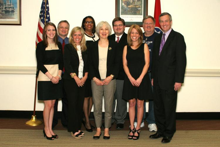 picture of Secretary of State Tre Hargett with public school officials and the Coordinator of Civic Engagement