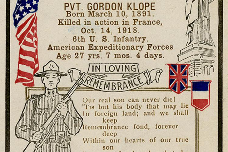 Poster honoring Pvt. Gordon Klope killed in action in France on Oct. 14, 1918