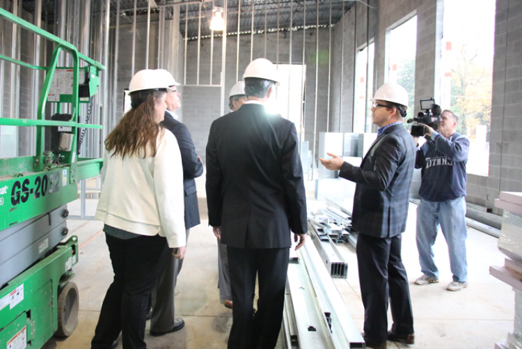 Architect John Trail (right) tours Sec. Hargett and members of the Rutherford Co. delegation around the Technology Engagement Center construction site