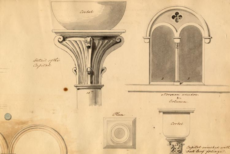 Architectural details of the Capital from the William Strickland Sketchbook, 1838