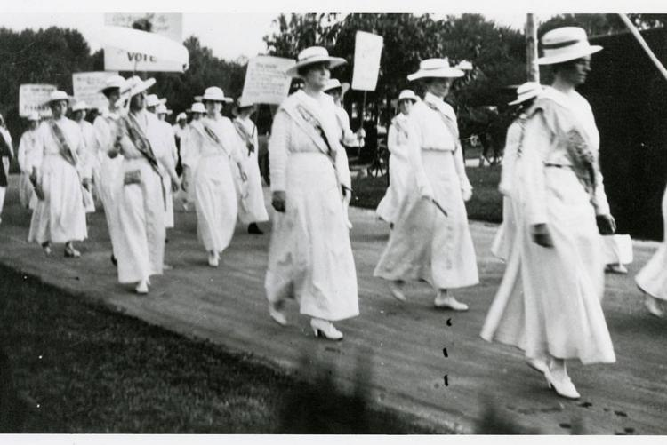 Marching suffragettes