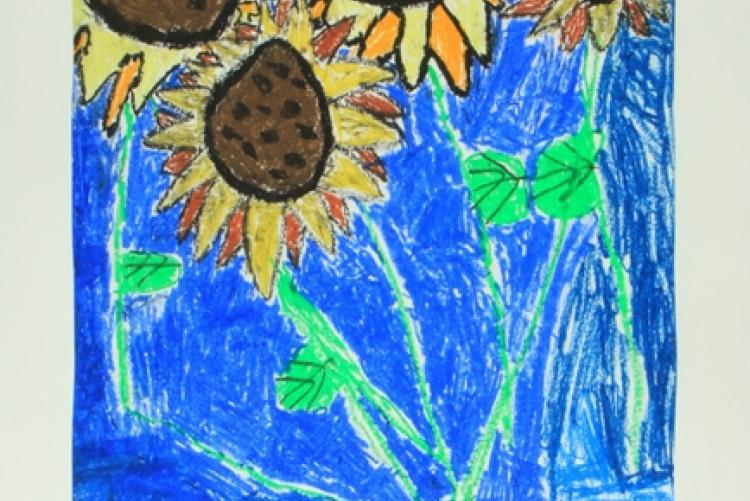 Sunflowers in a Quilted Vase (Oil Pastel), Elementary School Student, Tennessee School for the Blind