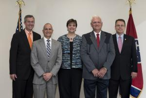 L to R: Secretary Hargett, Davidson County Administrator of Elections Jeff Roberts, Montgomery County Administrator of Elections Elizabeth Black, Moore County Administrator of Elections Jim Sanders and Coordinator of Elections Mark Goins